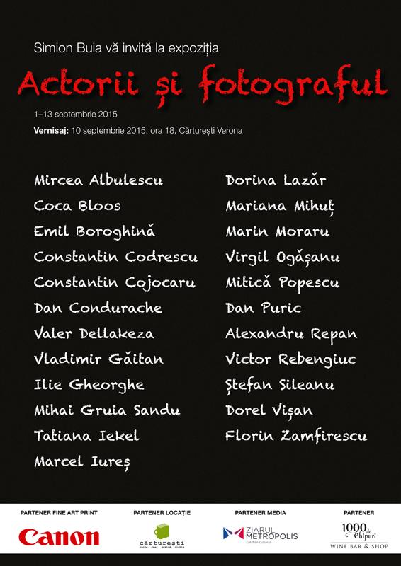 Actorii si fotograful expozitie Simion Buia 2015